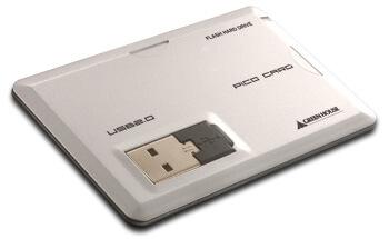 名刺入れにピッタリ収納、ビジネスマンの必需品。カード型USB2.0フラッシュメモリ「ピコ・カード」新発売!