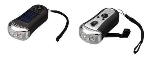 電池が無くても大丈夫!LEDライトのソーラー充電モデルと手回し充電モデルの2種新発売!
