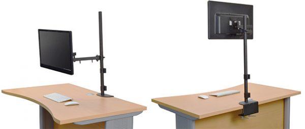 机を広々使える!液晶ディスプレイ用アーム4軸アーム700mmポールモデル新発売