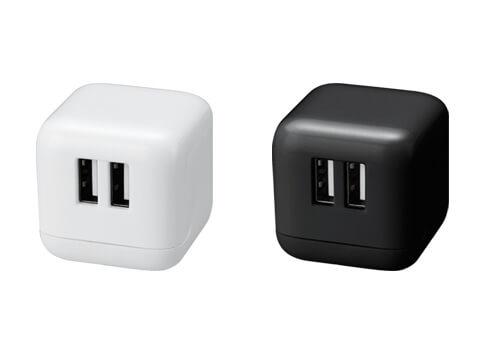 iPhoneやスマートフォンを同時に2台まで充電できるキューブ形のUSB-AC充電器新発売!