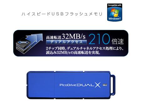 64GBの大容量、32MB/sの高速転送を実現したUSBメモリー『ピコドライブ・デュアルX』新発売!