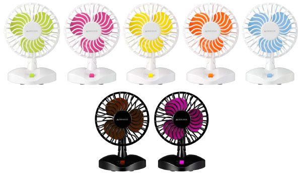 カラフルな7色のUSB扇風機が新登場!